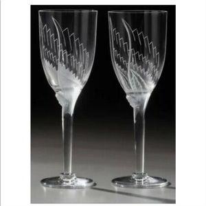 VTG Lalique Crystal Angel Champagne Flutes…
